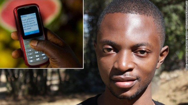Gifted Mom, Cameroon – Cameroonian entrepreneur Alain Nteff is the co-founder of Gifted Mom, a mHealth startup using low-cost technology, pictured inset, to provide medical advice to women in rural areas.