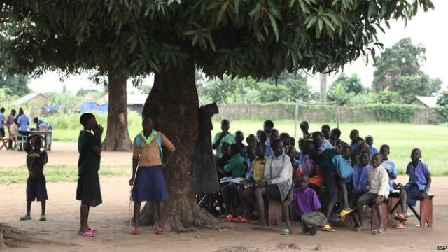 Many lessons take place under trees in villages in South Sudan