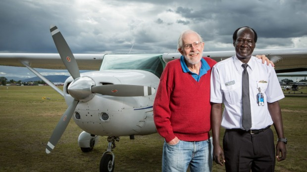Air apparent: Retired scientist Bob McCown with Paduol Ater at Archerfield Airport in Brisbane. Photo: Paul Harris