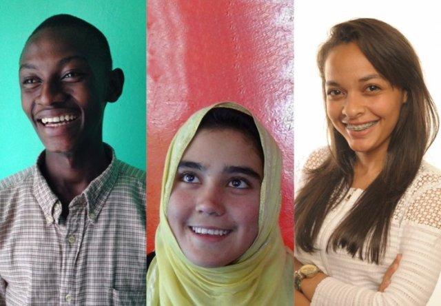 This year's nominees (L to R) Abraham Keita, Aziza Rahim Zada and Jeanesha BouKidsRights