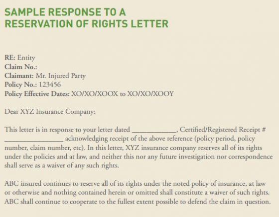 Should You Respond to a Reservation of Rights Letter? Risk