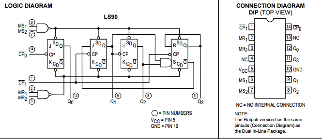 74ls90 bcd counter circuit