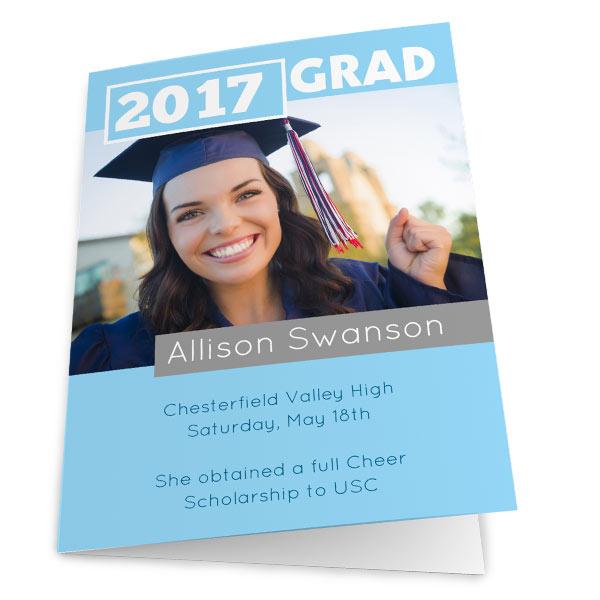 Photo Personalized 5x7 Folded Greeting Card - RitzPix RitzPix - print grad cards