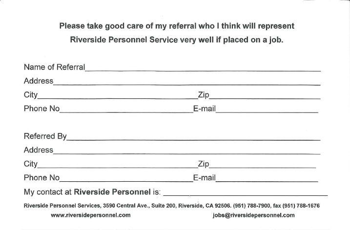 Referral Bonus - Riverside Personnel Services - office referral form