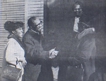 Rev. Henry and Dr. Mamie Oliver in front of St. Paul Baptist Church, 1973