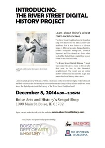 Learn about the River Street Digital History Project at the Sesquicentennial Shop in Boise, Idaho
