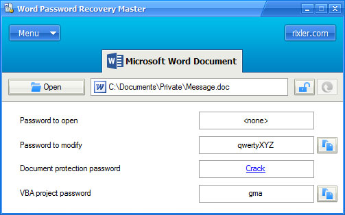 Word Password Recovery Master FREE Download MS Word password