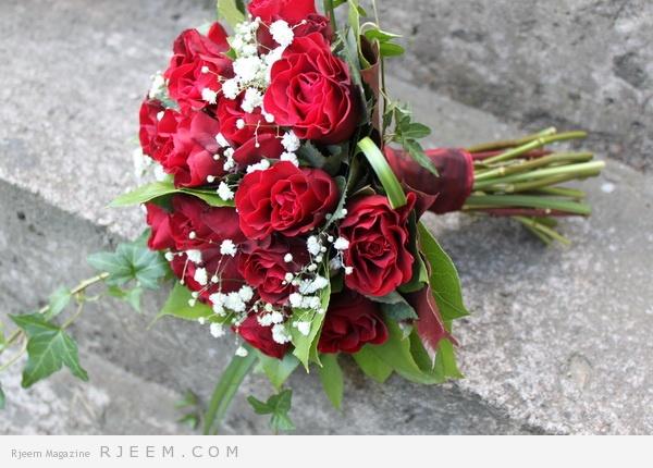 مسكات ورود حمراء لعروس 2014