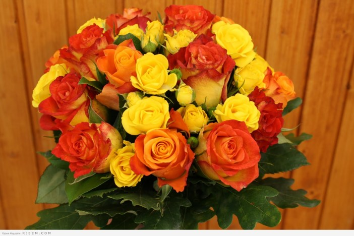 مسكات زهور باللون البرتقالي