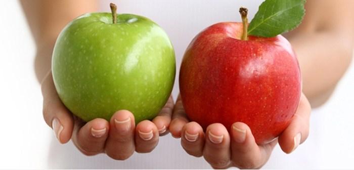 الفرق بين التفاح الاحمر والتفاح الاخضر