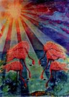 Wereldgebedsdag 2015, schilderij flamingo's