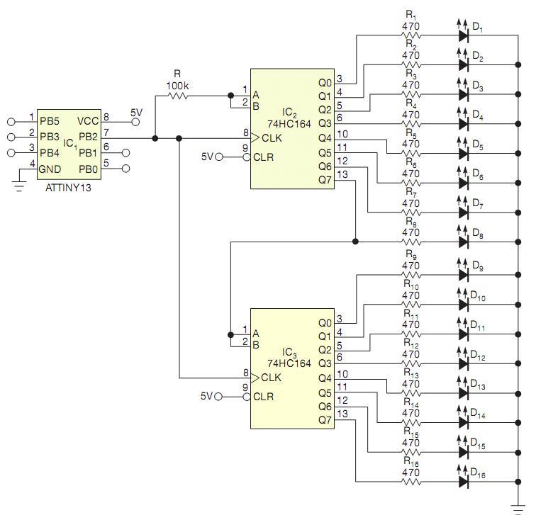 Drive 16 LEDs with one I/O line