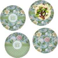 Vintage Floral Set of 4 Lunch / Dinner Plates (Glass