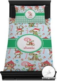 Christmas Monkeys Duvet Cover Set - Twin (Personalized ...