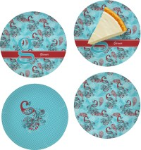 Peacock Set of 4 Glass Appetizer / Dessert Plate 8 ...