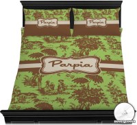 Green & Brown Toile Duvet Cover Set - Full / Queen ...