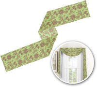 Green & Brown Toile Window Sheer Scarf Valance ...