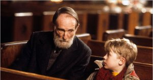 Old Man Marley and Kevin talking in the Church.  A touching scene reconnecting with his daughter at Kevin's suggestion.