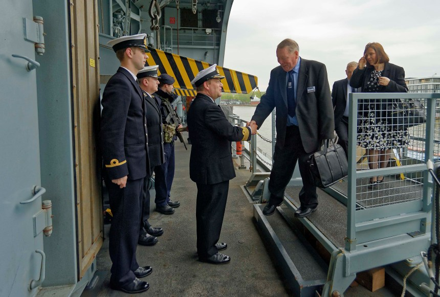 Lt. Cdr. (Retired) Maurice 'Jan' Larcombe boarding HMS Ocean