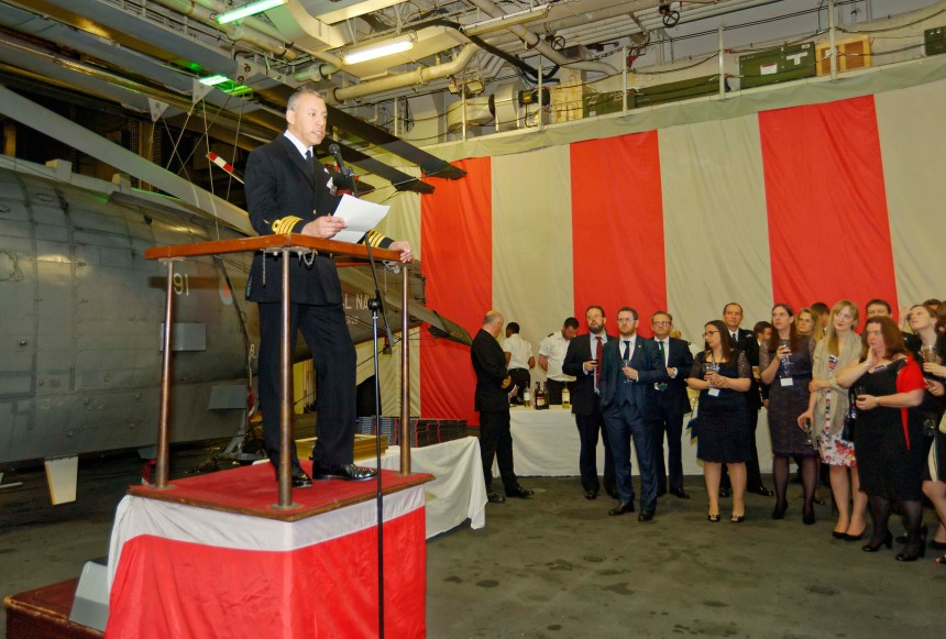 The Captain of HMS Ocean addressing the guests at the Peregrine Trophy Awards Ceremony