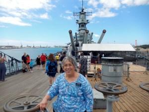Nina on the Deck of the Battleship Missouri