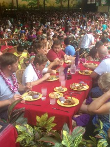 Eating Dinner at the Aloha Luau