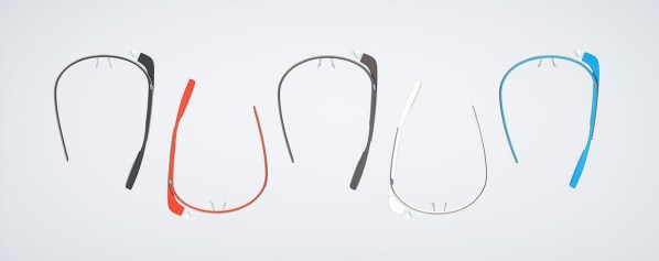 Google Glass colors: Charcoal, Tangerine, Shale, Cotton, Sky.