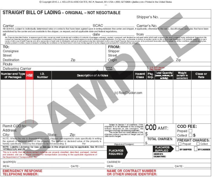 Triplicate HM and Straight Bill of Lading 431 - Min\u003d250