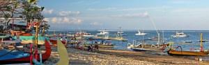 Colourful outriggers on Sanur Beach, Bali