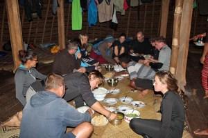 Dinner time at Wae Rebo homestay