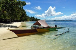 Chartered fishing boat used for island hopping around Biak Island