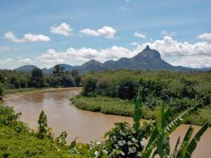 Bukit Serelo seen over the Lematang River near Lahat