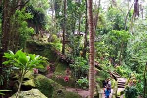 Beautiful landscaped gardens at Goa Gajah Temple, Bali