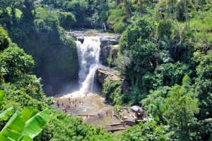 The extremely popular Tegenungan Waterfall near Ubud, Bali