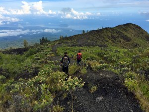 Descending from the Mt Tambora summit, Satonda Island in the background