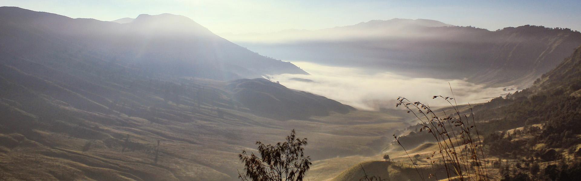 Misty morning over Bromo Tengger Semeru National Park, Java