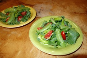 A completely (small, but yummy) home-grown salad: lettuce, peppers, peas and tomatoes... :-)
