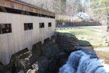Covered bridge and accompanying waterfall (in spring)