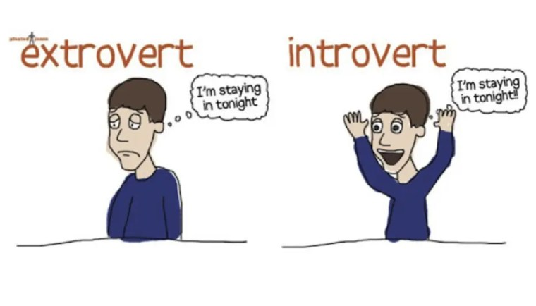 """Person on the left (introvert) looking glum and thinking """"I'm staying in tonight"""". Person on the right (extroverted) looking elated and thinking """"I'm staying in tonight!"""""""