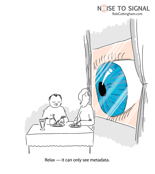 A couple has dinner while a giant eyeball stares at them from outside. One of the couple tells the other, 'Relax - it can only see metadata.'