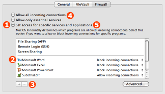 Firewall preferences with sequentially numbered steps