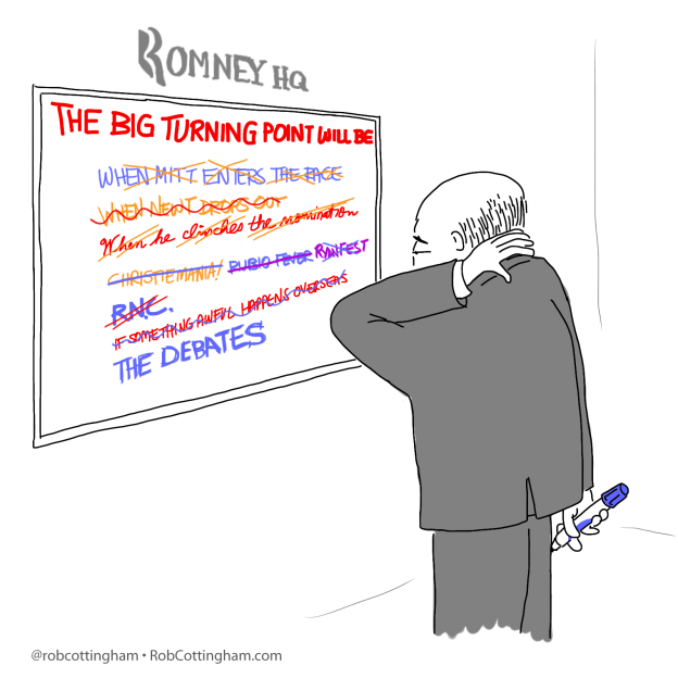 "Cartoon: Romney campaign strategist staring at whiteboard that reads ""The Big Turning Point Will Be""."