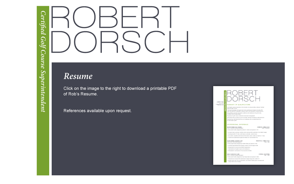 Robert Dorsch  Certified Golf Course Superintendent - golf course superintendent resume