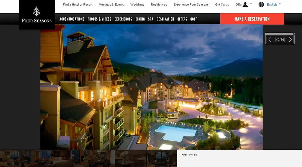 Hotel and resort photography for the Four Seasons Resort Whistler