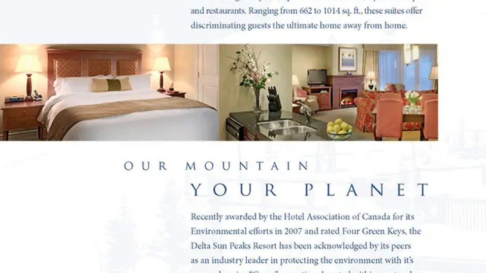 Advertising, brochure photography for Delta Sun Peaks Resort