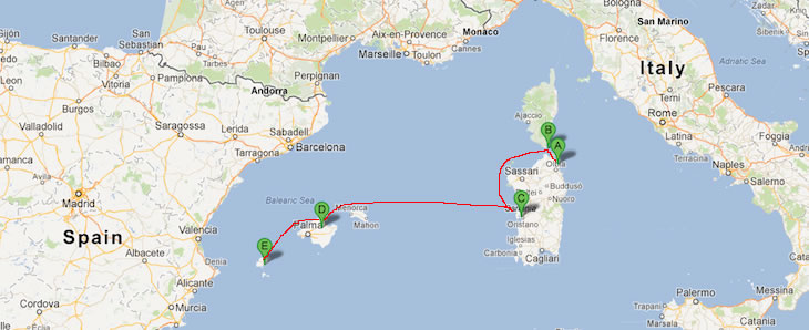 (A) Porto Rotondo (B) Cavallo Island (C) Sardinia Half way (D) Maiorca (E)Ibiza 
