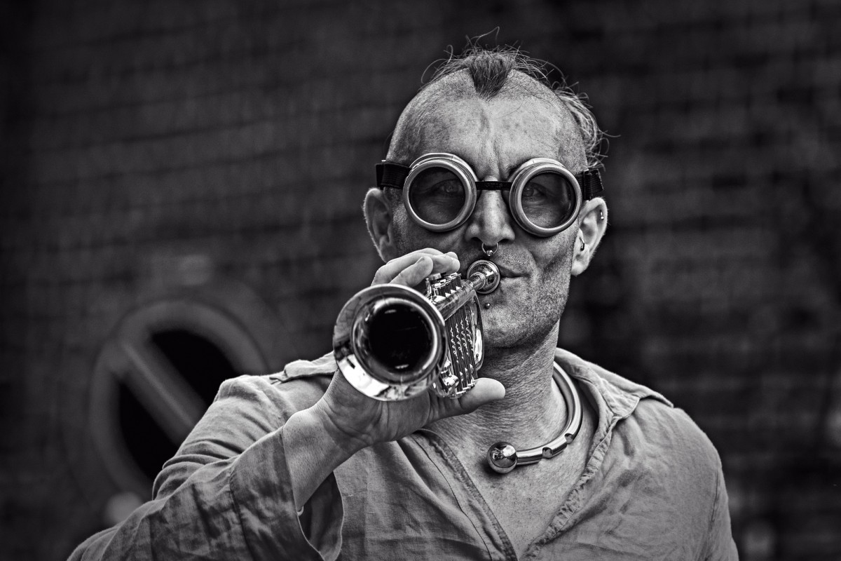 glasses and trumpet