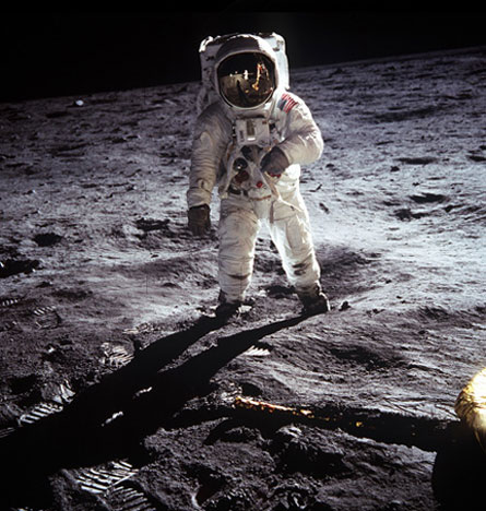 Astronaut Edwin 'Buzz' Aldrin walks on the Moon, 1969.