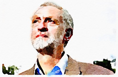 Jeremy Corbyn, rendered in Waterlogue