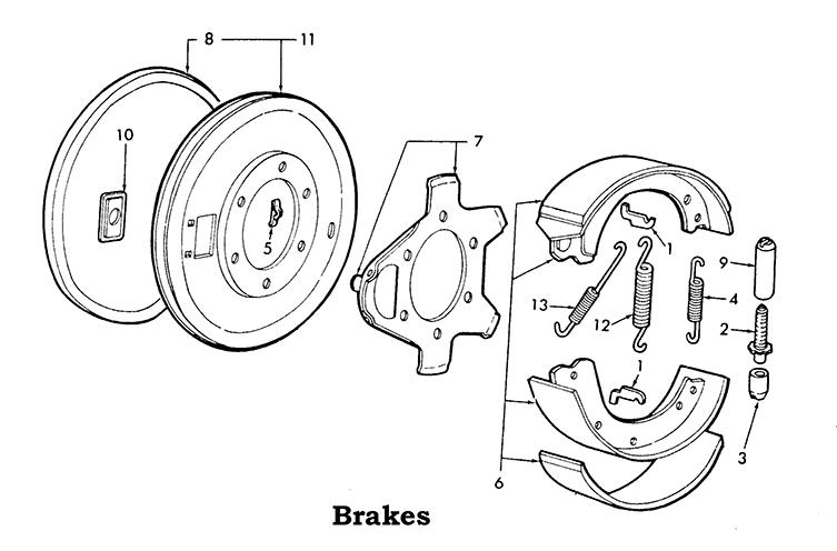 Ford 2N, 8N, 9N Brake Parts List